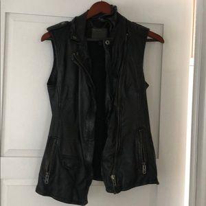 Muubaa black leather moto vest size 4